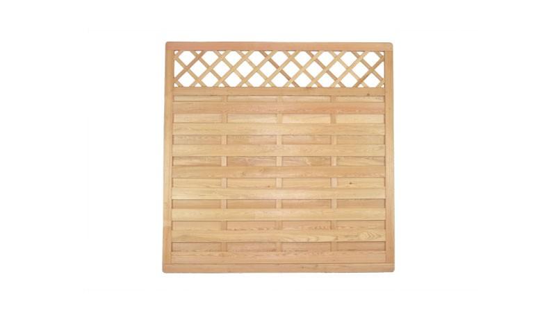 Dichtzaun 180 x 180 cm aus sibirischer Lärche mit Rankgitter, der Zaun bietet eine ansprechende Optil und einen guten Sichtschutz
