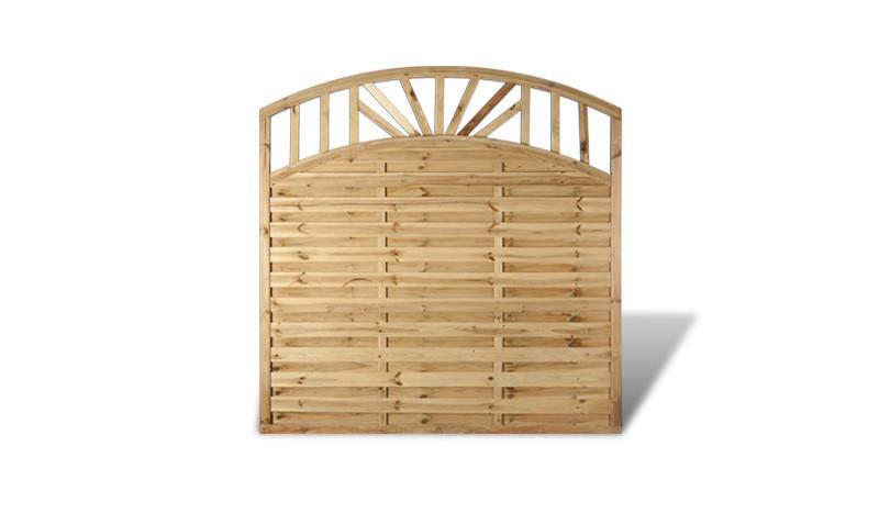 Ein Holzzaun mit einer Bogenform und einer La mmellenstärke von 5 x 73 mm (180 x 180 auf 160cm)
