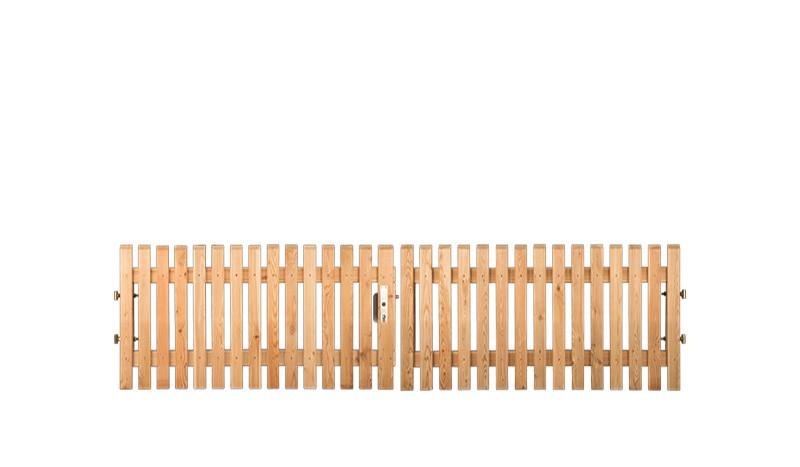 Doppeltor 300 x 80cm, 21 x 65 mm Zaunbretter, 2-Flg., 4 x 4cm Alurahmen inkl. Schlosskasten, Bänder, Rolle und Bodenschieber aus sibirische Lärche, Edelstahl verschraubt