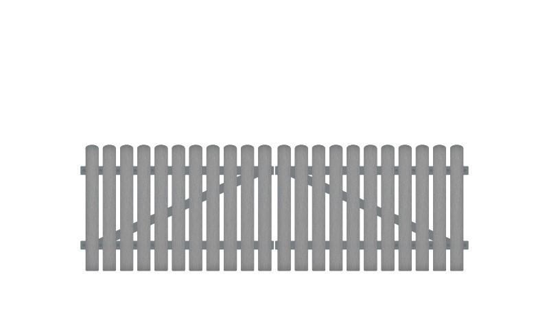 Wetterfestes Kunststoff Doppeltor, inkl. verstellbare Edelstahlbeschläge (6mm starke Ladenbänder vormontiert), Überwurf, Bodenriegel, Metallhülsen und Arretierung.