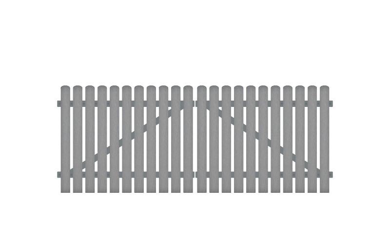 Gartentore aus Kunststoff mit 10 Jahre Garantie. Inkl. verstellbare Edelstahlbeschläge (6mm starke Ladenbänder vormontiert), Überwurf, Bodenriegel, Metallhülsen und Arretierung.