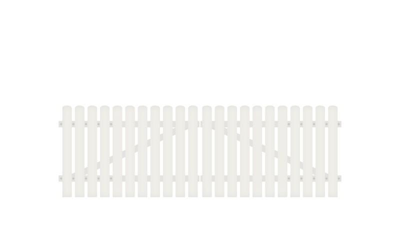 Pflegeleichtes Kunststoff Doppeltor aus Vollkunstofflatten auf Aluminiumrahmen, 308 x 80 cm, weiß (RAL 9016), inkl. verstellbare Edelstahlbeschläge (6mm starke Ladenbänder vormontiert), Überwurf, Bodenriegel, Metallhülsen und Arretierung.