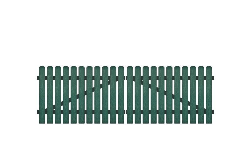 Wetterfestes Doppeltor mit Vollkunstofflatten auf Aluminiumrahmen, 308 x 100 cm, grün (RAL 6012), inkl. verstellbare Edelstahlbeschläge (6mm starke Ladenbänder vormontiert), Überwurf, Bodenriegel, Metallhülsen und Arretierung.