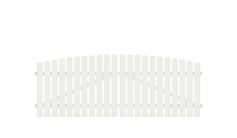 Pflegeleichtes und stabiles Kunststoff Doppeltor. 308 x 100 auf 115 cm, weiß (RAL 9016), inkl. verstellbare Edelstahlbeschläge (6mm starke Ladenbänder vormontiert), Überwurf, Bodenriegel, Metallhülsen und Arretierung.