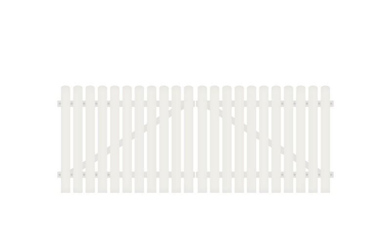 Kunststoff Doppeltor mit 10 Jahre Garantie auf UV-Beständigkeit. 308 x 80 cm, weiß (RAL 9016), inkl. verstellbare Edelstahlbeschläge (6mm starke Ladenbänder vormontiert), Überwurf, Bodenriegel, Metallhülsen und Arretierung.