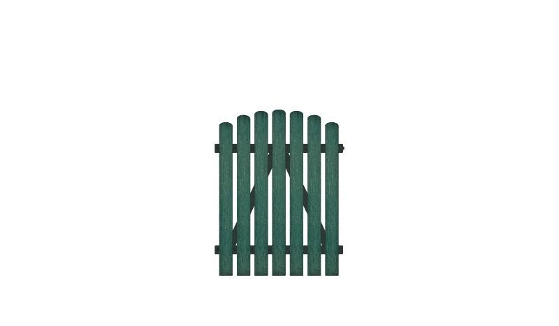Wetterfestes Kunststoff Einzeltor, 100 x 120 auf 130 cm, grün (RAL 6012),  DIN-R, inkl. verstellbare Edelstahlbeschläge (6mm starke Ladenbänder vormontiert) und Überwurf