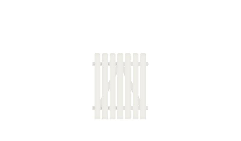 Wetterfestes Kunststoff Einzeltor - 100 x 120 cm, weiß (RAL 9016),  DIN-R, inkl. verstellbare Edelstahlbeschläge (6mm starke Ladenbänder vormontiert) und Überwurf