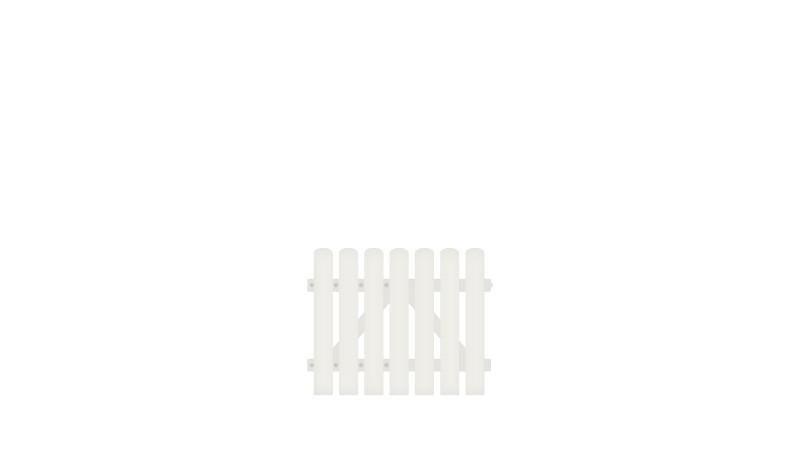 Pflegeleichtes Einzeltor aus Vollkunstofflatten auf Aluminiumrahmen, 100 x 80 cm, weiß (RAL 9016),  DIN-R, inkl. verstellbare Edelstahlbeschläge (6mm starke Ladenbänder vormontiert)