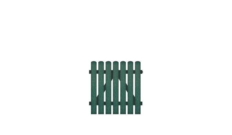 Wetterfeste Kunststoff Gartentor, 100 x 100 cm, grün (RAL 6012),  DIN-R, inkl. verstellbare Edelstahlbeschläge (6mm starke Ladenbänder vormontiert) und Überwurf