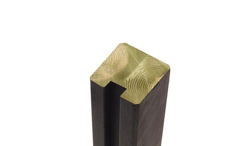 Abschluss und Torpfosten in schwarz aus skandinavischem Nadelkreuzholz mit geringerer Rissbildung