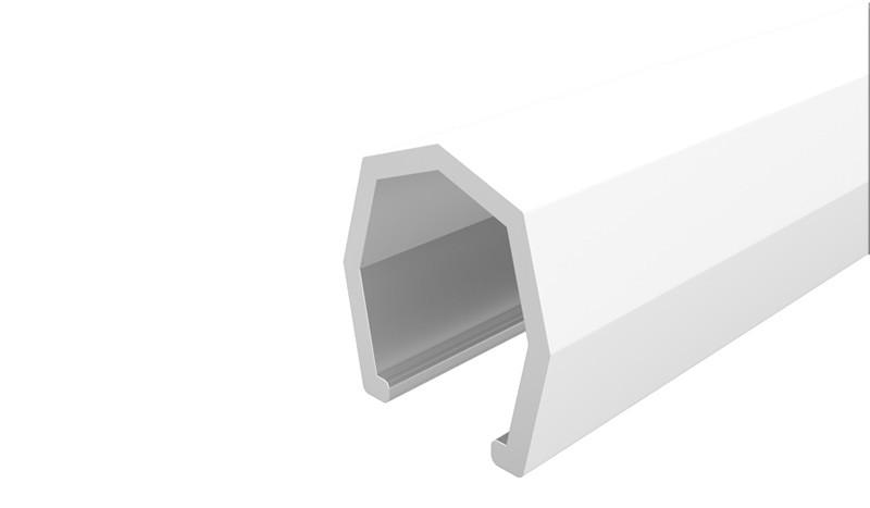 Die Abdeckleiste in weiß dient zum Abschluss der Aluminiumelemente. Maß: 1,7 x 1,7 x 176 cm