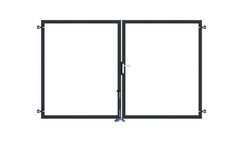 Torrahmen für das Doppeltor der Eno-Serie. 300 x 180 in Anthrazit