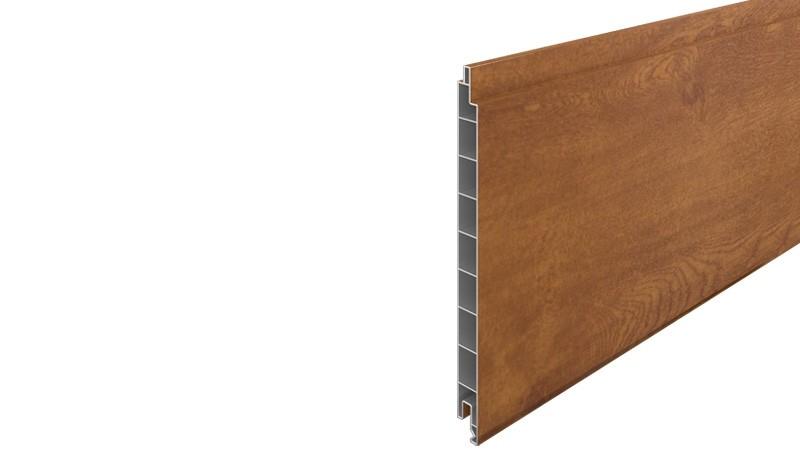 Eno-Profilbrett aus widerstandsfähigem PVC-Kunststoff. Holzoptik durch Golden-Oak Dekor