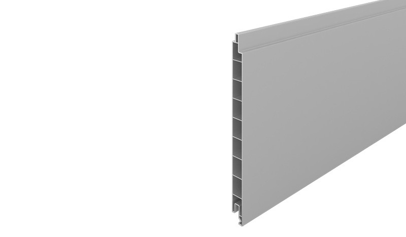 Profilbrett für den Eno-Steckzaun aus pflegeleichtem PVC-Kunststoff in der Farbe Silbergrau