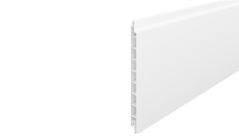 Kunststoffprofilbrett aus langlebigem PVC-Kunststoff in der Farbe Weiß (RAL 9016). Maß: 1,7 x 20 x 176 cm