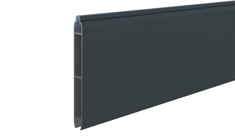 Aluprofilbrett aus rostfreiem Aluminium in der Farbe Anthrazit (RAL 7016). Maß: 176 x 14,5 x 1,7 cm