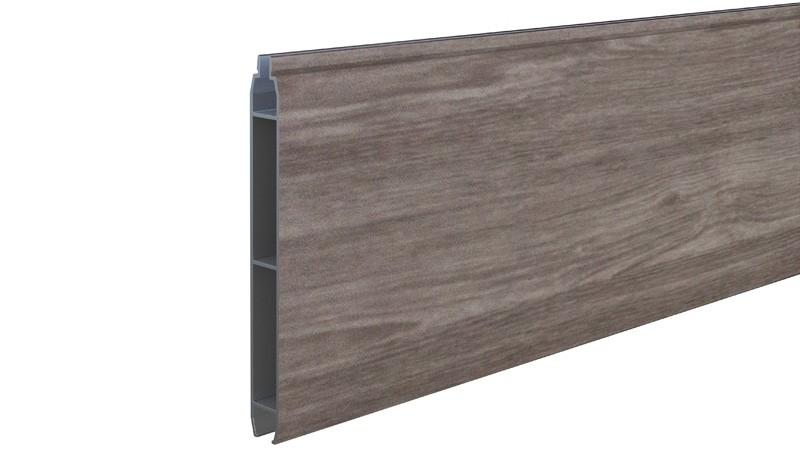 Eno-Profilbrett aus widerstandsfähigem Aluminium. Holzoptik durch Sheffield-Oak Dekor (3086)