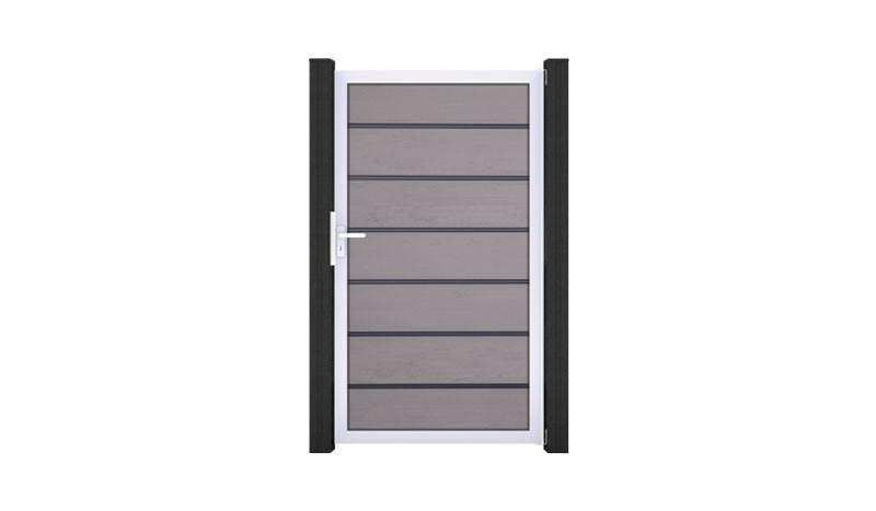 Premium Einzeltor der Esbjerg Maxi Serie mit Lamellen aus BPC - Rahmen und Zwischenleisten aus Aluminium