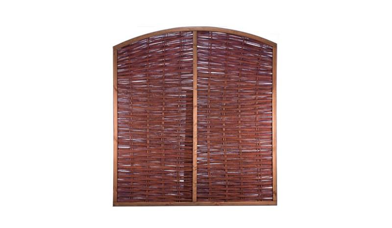Flechtzaun aus Weide mit Bogen, einem Maß 180 x 200 auf 180cm und einem braun gebeiztem Kiefernrahmen