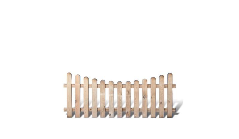 Friesenzaun mit Bogen aus druckimprägnierter Kiefer/Fichte. 200x80/65cm. Riegelstärke: ca. 28 x 70 mm