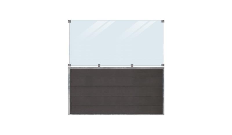 WPC, schiefergraue Holzstruktur, 180 x 180 cm, 6 mm ESG klares Glas, inkl. Glasbeschläge