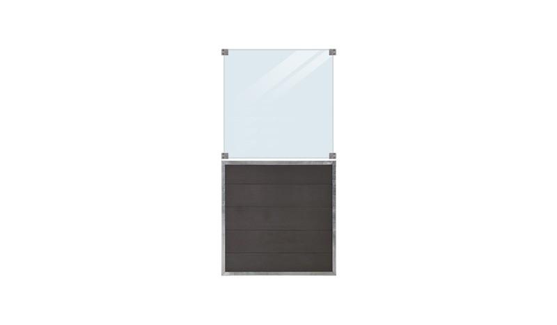 WPC, schiefergraue Holzstruktur, 90 x 180 cm, 6 mm ESG klares Glas, inkl. Glasbeschläge