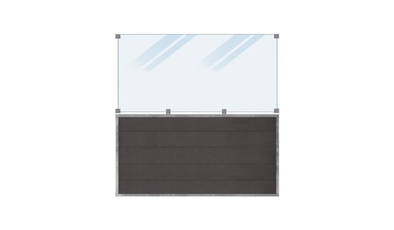 WPC, schiefergraue Holzstruktur, 180 x 180 cm, 6 mm ESG satiniertes Glas, inkl. Glasbeschläge