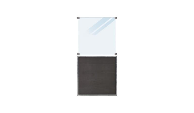 WPC, schiefergraue Holzstruktur, 90 x 180 cm, 6 mm ESG satiniertes Glas, inkl. Glasbeschläge