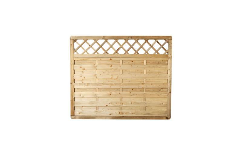 Ein Holzzaun aus druckimprägniertem Kiefernholz und einem Maß von 180 x 150cm