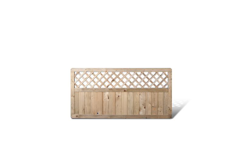 Gartenzaun aus druckimprägnierter Fichte mit Rankgitter. 180x90cm. Rank Maschenweite: ca. 6 x 6cm