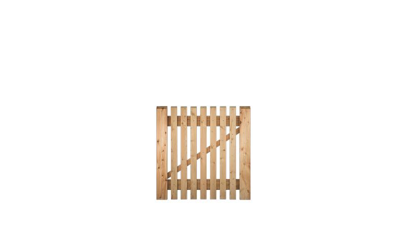 Gartenpforte 100 x 100cm mit 21 x 65 mm Zaunlatten aus sibirischer Lärche, Edelstahl verschraubt, ohne Beschläge