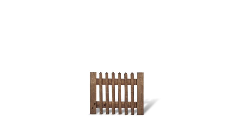Senkrechtzaun Einzeltor aus brauner druckimprägnierter Kiefer/Fichte. 100x80cm. Lattenstärke: ca. 55 mm
