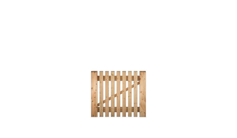Gartenpforte mit dem Maß 100 x 80cm, 21 x 65 mm Zaunbretter, Sibirische Lärche, Edelstahl verschraubt