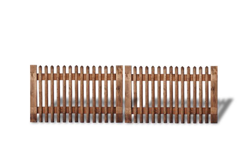 Senkrechtzaun Doppeltor aus brauner druckimprägnierter Kiefer. 300x100cm. Lattenstärke: ca. 55 mm