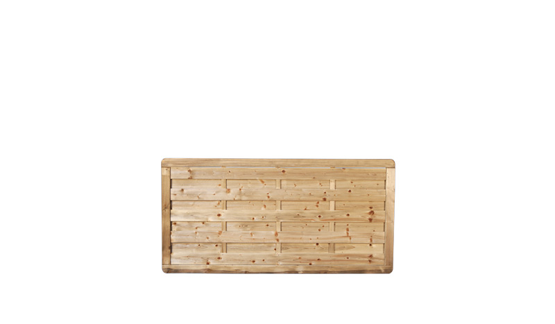 Ein Gartenzaunelement mit einer Rahmenstärke von 45 x 68 mm und eienm Maß  von: 180 x 90cm