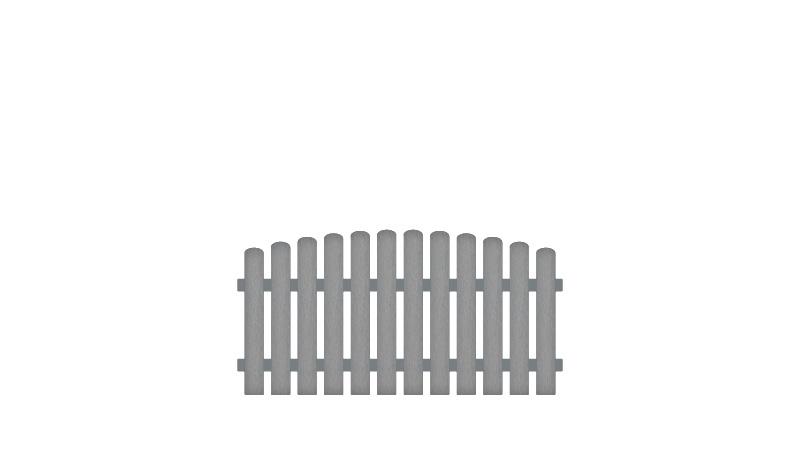 Pflegeleichte Gartenzäune aus Kunststoff. 180 x 80 auf 90 cm, grau (RAL 7056), Edelstahl verschraubt, inkl. Montageset und Bohrer