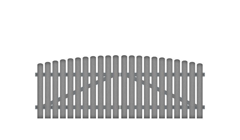 10 Jahre Garantie auf UV-Beständigkeit. 308 x 100 auf 115 cm, grau (RAL 7056), inkl. verstellbare Edelstahlbeschläge (6mm starke Ladenbänder vormontiert), Überwurf, Bodenriegel, Metallhülsen und Arretierung.