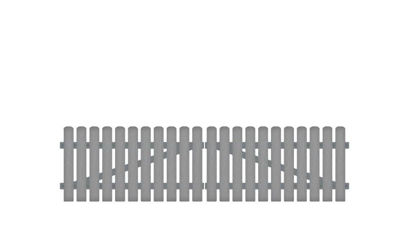 Pflegeleichtes Doppeltor aus Kunststoff, 308 x 80 cm, grau (RAL 7056), inkl. verstellbare Edelstahlbeschläge (6mm starke Ladenbänder vormontiert), Überwurf, Bodenriegel, Metallhülsen und Arretierung.
