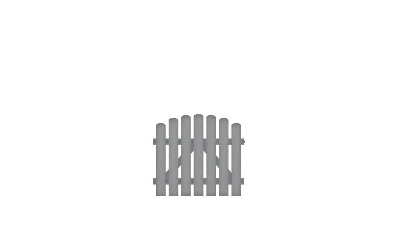 Pflegeleichtes Gartentor aus Vollkunstofflatten auf Aluminiumrahmen, 100 x 80 auf 90 cm, grau (RAL 7056),  DIN-R, inkl. verstellbare Edelstahlbeschläge (6mm starke Ladenbänder vormontiert) und Überwurf