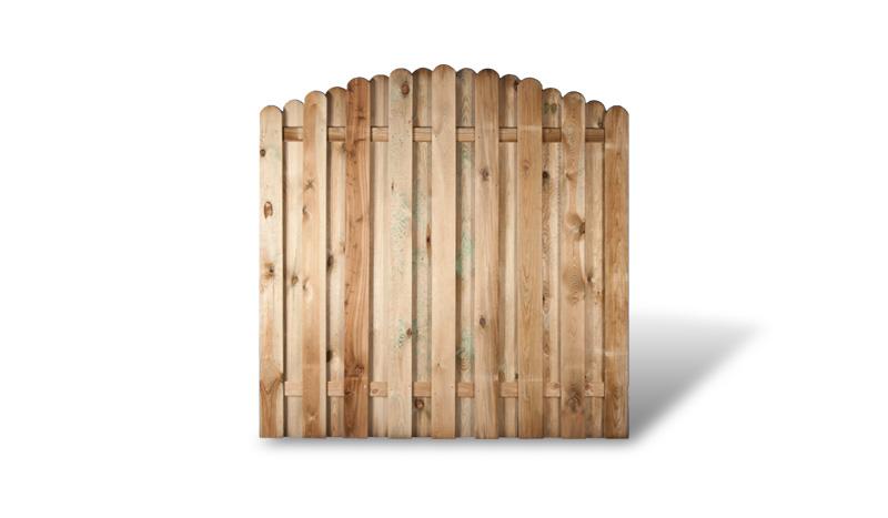 Ein bogenförmiger Holzzaun aus druckimprägniertem Holz und dem Maß: 180 x 180 auf 160cm