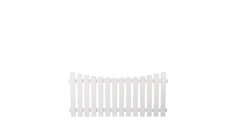 Kunststoffgartenzäune Lightline mit Tiefbogen 180 x 80 auf 70cm, weiß
