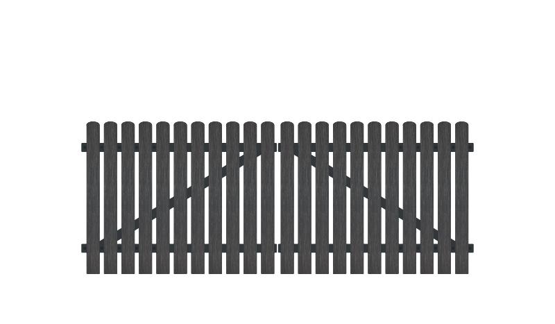 Vollkunstofflatten auf Aluminiumrahmen, 308 x 120 cm, anthrazit (RAL 7016), inkl. verstellbare Edelstahlbeschläge (6mm starke Ladenbänder vormontiert), Überwurf, Bodenriegel, Metallhülsen und Arretierung.