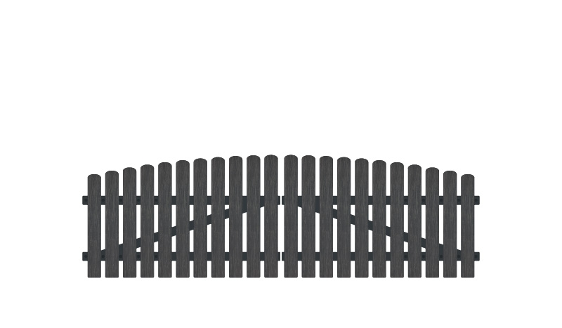Vollkunstofflatten auf Aluminiumrahmen, 308 x 80 auf 95 cm, anthrazit (RAL 7016), inkl. verstellbare Edelstahlbeschläge (6mm starke Ladenbänder vormontiert), Überwurf, Bodenriegel, Metallhülsen und Arretierung.