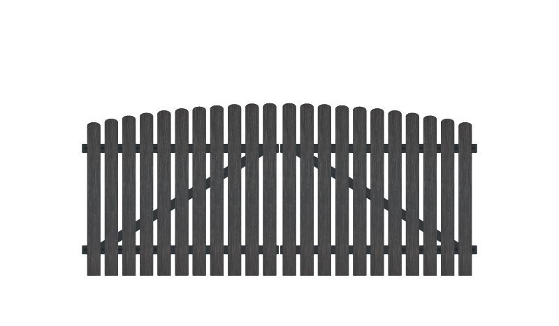 Wetterfestes Gartentor aus Vollkunstofflatten auf Aluminiumrahmen, 308 x 120 auf 135 cm, anthrazit (RAL 7016), inkl. verstellbare Edelstahlbeschläge (6mm starke Ladenbänder vormontiert), Überwurf, Bodenriegel, Metallhülsen und Arretierung.