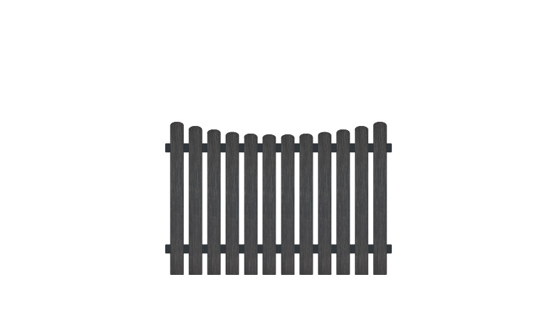 Pflegeleichter Gartenzaun aus Vollkunstofflatten und Aluminiumquerriegel, 180 x 120 auf 110 cm, anthrazit (RAL 7016), Edelstahl verschraubt, inkl. Montageset und Bohrer