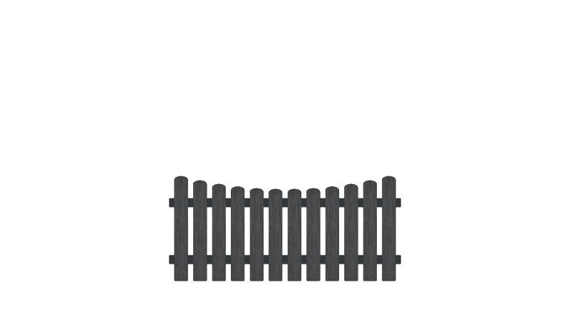 Pflegeleichter Gartenzaun aus Vollkunstofflatten und Aluminiumquerriegel, 180 x 80 auf 70 cm, anthrazit (RAL 7016), Edelstahl verschraubt, inkl. Montageset und Bohrer