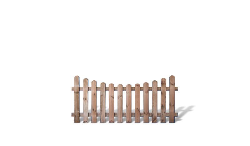 Ein bogenförmiger Gartenzaun aus der Serie Günstig & Gut mit einem Maß von 180 x 80 auf 65cm