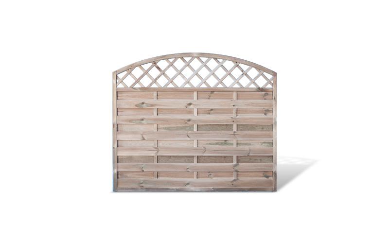 Ein Zaunelement mit einer Rahmenstärke von 45 x 45 mm und einem Maß von: 180 x 150 auf 130