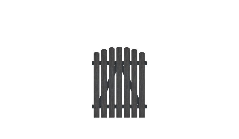 Gartenzaun Kunststofftor mit Vollkunstofflatten auf Aluminiumrahmen, 100 x 120 auf 130 cm, anthrazit (RAL 7016),  DIN-R, inkl. verstellbare Edelstahlbeschläge