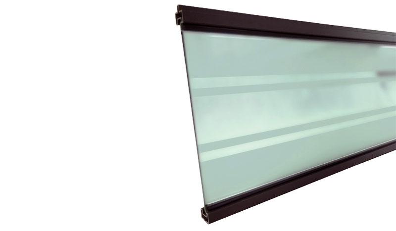 Glasfüllung, 179,3 x 0,15 x 20,6 cm in Anthrazit